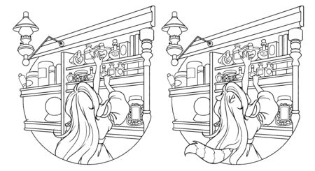 Cute little girl reaching for bottle on shelf in magic shop. Contour vector illustration. Can be used for coloring book, tattoo, sticker, card, t shirt design.