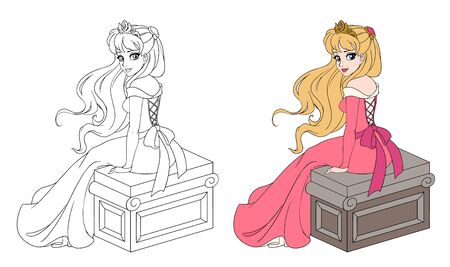 Beautiful princess in pink dress sitting with long blonde hair. Color and outlined picture for coloring book on white background. Hand drawn cartoon vector illustration.