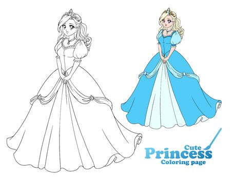 Pretty anime princess standing and wearing beautiful ball dress. Hand drawn vector illustration for coloring book, game, paper doll, poster, shirt, card design.