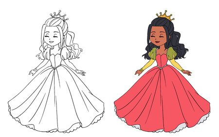 Beautiful little princess wearing long ball dress. Big cartoon eyes and head.