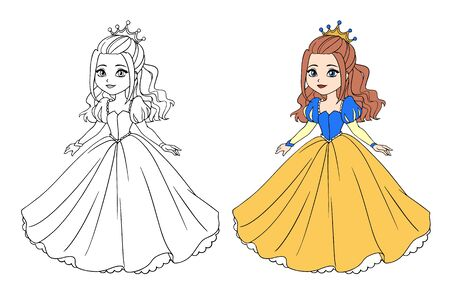 Beautiful little princess wearing long ball dress. Big cartoon eyes and head. Vector Illustratie