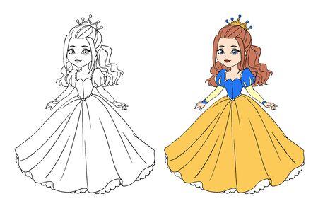Beautiful little princess wearing long ball dress. Big cartoon eyes and head. Vetores