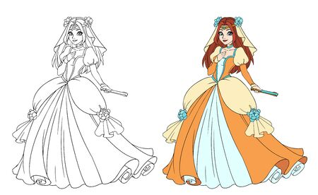 Beautiful fantasy cartoon princess wearing tiara and gown dress.