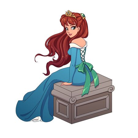 Beautiful cartoon princess with red hair wearing blue ball dress sitting on stone bench. Hand drawn vector illustration isolated on white. Vector Illustration