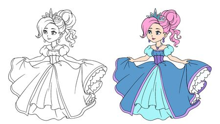 Beautiful little princess wearing long ball dress. Big cartoon eyes and head. Hand drawn contour vector illustration for coloring book, children game, tattoo.
