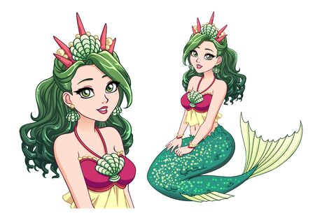 Pretty cartoon mermaid princess with curly green hair and shiny green fish tail and wearing shell crown. Hand drawn vector illustration isolated on white.