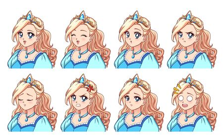 A set of cute anime princess with different expressions. Blonde hair, big blue eyes, blue dress. Hand drawn retro anime vector illustration. Can be used for avatar, stickers, badges, prints etc.