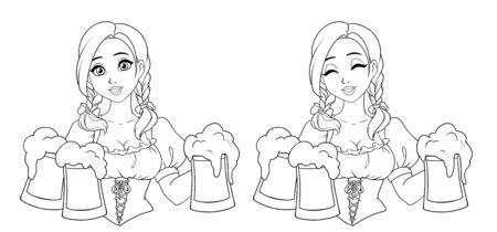 Beautiful girl with pigtails and big eyes holding beer mugs. Hand draw contour raster illustration for St.Patricks day or Otoberfest greeting card, banner.