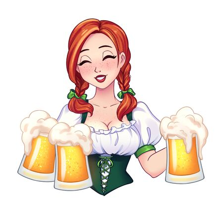 Beautiful girl with red pigtails and closed eyes holding beer mugs. Hand draw raster illustration for St.Patricks day or Otoberfest greeting card, banner.