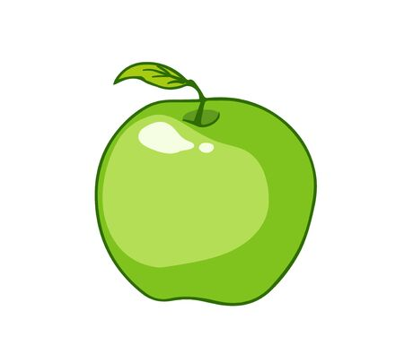 Fresh green apple. Cartoon vector icon isolated on white background.