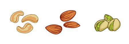 Set of nuts: almond, cashew, pistachio. Cartoon vector icon isolated on white background. Ilustracja