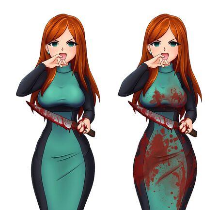 Mad jealous woman holding the bloody knife. Hand drawn anime illustration. Zdjęcie Seryjne