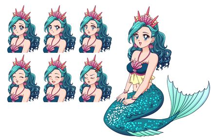 Illustration of anime mermaid and her expressions set. Cyan fish tail, cyan hair and cute big blue eyes. Hand drawn vector illustration.