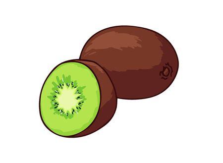 Fresh kiwi. Cartoon vector icon isolated on white background.