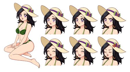 Set of anime expressions. Hand drawn cute girl with black hair and wearing green swimsuit and summer hat. Can be used for avatar, game, poster, novel, card, sticker, shirt design.
