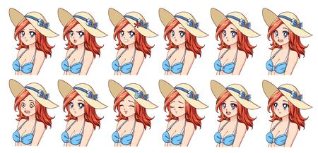 Set of anime expressions. Different eyes, mouth, eyebrows. Girl wearing blue swimsuit and summer hat. Red hair, blue eyes. Hand drawn vector illustration isolated on white background. Ilustracja