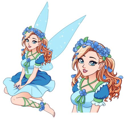 Pretty cartoon fairy with curly blonde hair wearing blue flower wreath and cute blue dress. Hand drawn vector illustration isolated on white.