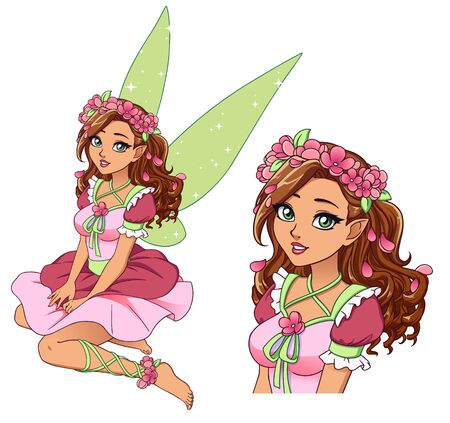 Pretty cartoon fairy with curly brown hair and tanned skin wearing flower wreath and cute pink dress. Hand drawn vector illustration isolated on white.