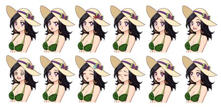 Set of anime expressions. Different eyes, mouth, eyebrows. Girl wearing green swimsuit and summer hat. Brunette with violet eyes. Hand drawn vector illustration isolated on white background. Ilustracja