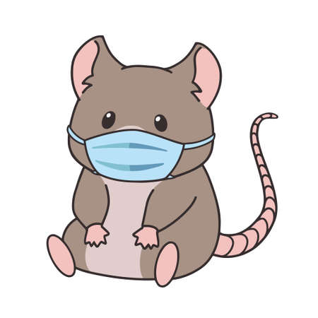 Cute little mouse wearing medical mask. Hand drawn cartoon vector illustration isolated on white. Ilustracja