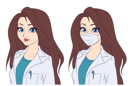 Cartoon portrait of woman wearing medical mask. Hand drawn vector illustration isolated on white.