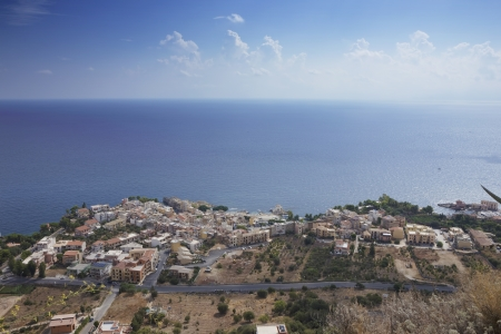 View the city of Sant Elia, from Solunto Stock Photo