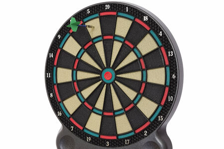 darts flying: Darts game, number 5 Stock Photo