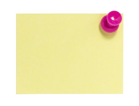 yellow notepad: Rectangular sticky note with pink pin Stock Photo