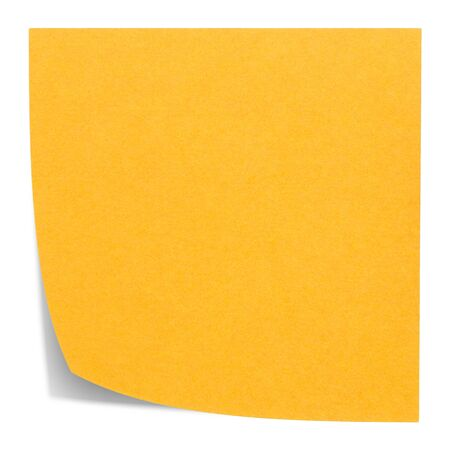Orange square sticky note, and shadow, isolated on white background photo