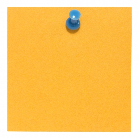 Flat orange square sticky note, with a blue pin, isolated on white background photo