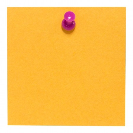 Flat orange square sticky note, with pink pin, isolated on white background photo