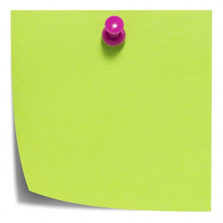 Green square sticky note, with pink pin, isolated on white and with shadow photo