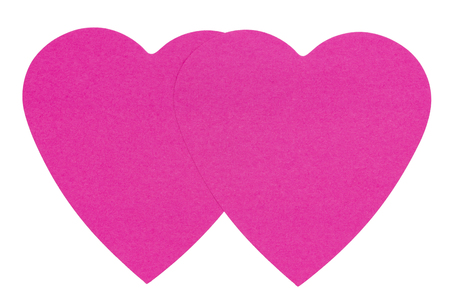 i pad: Double Heart Sticky Label, isolated on white background Stock Photo
