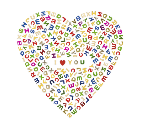 A big heart made up of many colorful letters with I Love You in the center  photo