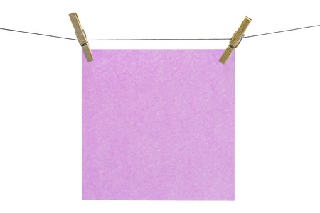 Flat pink square sticky note hanged  photo