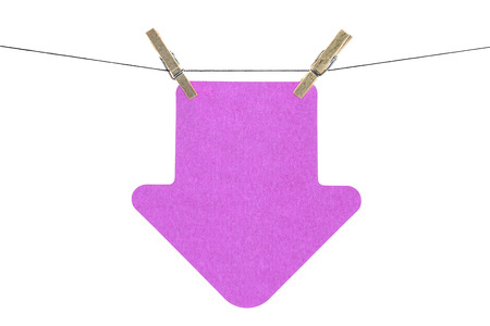Flat pink arrow sticky note hanged, isolated on white background photo