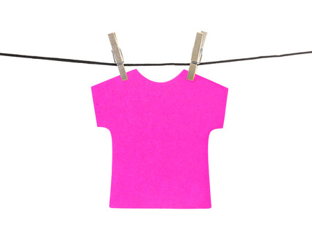 hanged: Flat pink T-shirt sticky note hanged, isolated on white background