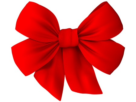 Red bow of fabric