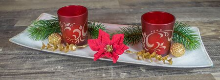 Christmas Candle Holder with fir branches
