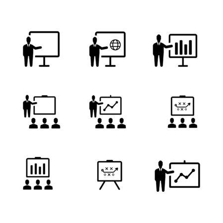 Business presentation icon set Black version