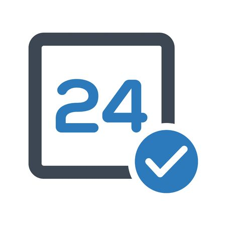 Beautiful, meticulously designed 24 hours service availability icon Illustration