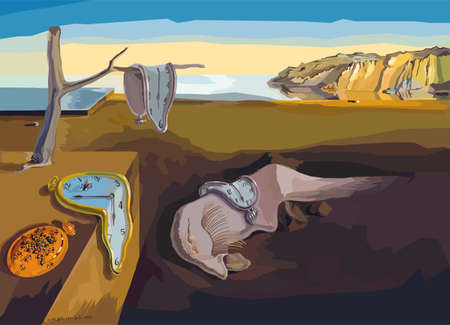 The Persistence of Memory - Salvador Dali painting reproduction in Low Poly style. Digital polygonal replication. Conceptual Vector Illustration