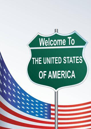 Straßenschild Willkommen in den Vereinigten Staaten von Amerika Standard-Bild - 70955907