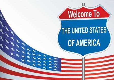 Straßenschild Willkommen in den Vereinigten Staaten von Amerika Standard-Bild - 70955909