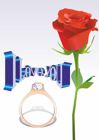fourteenth: vector image of poster, greeting cards the fourteenth of February, Valentines Day, I love you