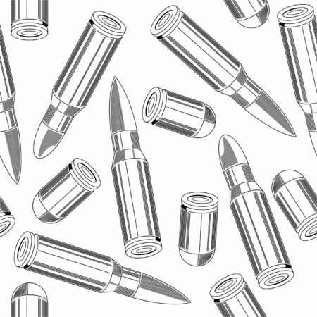 Vector. Seamless pattern. cartridge for weapons Ilustração