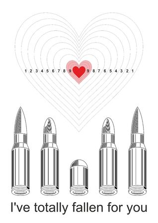 holidays for couples: vector image of poster, greeting cards Ive totally fallen for you the fourteenth of February, Valentines Day Illustration