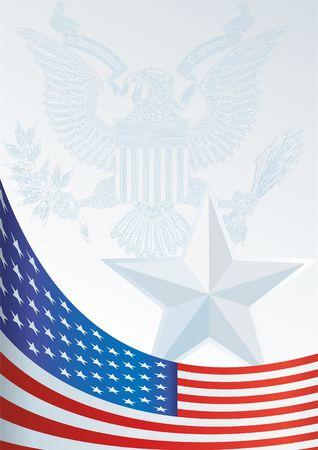 상을위한 템플릿, 아메리카 합중국의 국기와 상징이있는 공식 문서 일러스트
