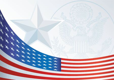 template for the award, an official document with a flag and a symbol of the United States of America Ilustracja