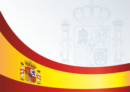 Template for official document with a flag and a symbol of the Kingdom of Spain